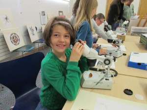 "Yung entomologgist, Saskia, enjoying her insect art at Cath's event ""Incredible Insects!"" at Stratford Museum in the Park, 14th June 2015"